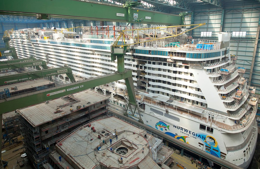 The Norwegian Encore is still being fitted out...